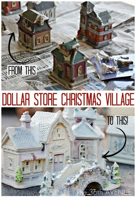 diy dollar store christmas village crafts paint and