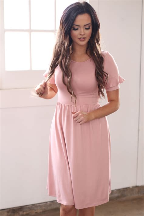 Dress Pretty Dusty Pink modest dress or modest bridesmaid dress in pink dusty