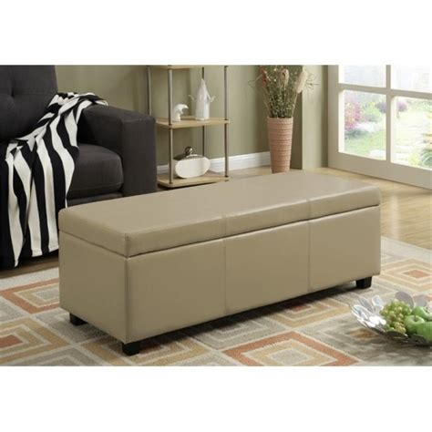 cream leather storage bench faux leather storage bench in cream axcf18 cr