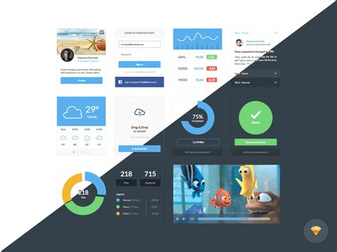 google design ui kit dark and light ui kit sketch freebie download free