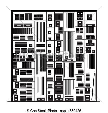 Clip Art Closet by Vector Illustration Of Wardrobe Inside Illustration For