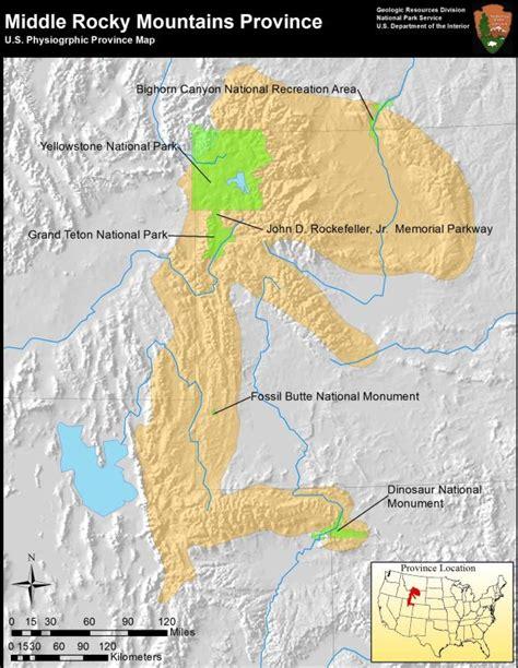 rocky mountains on map rocky mountain system provinces u s national park service
