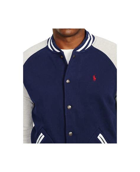 Sweater Baseball Polos Cotton Fleece lyst polo ralph big fleece baseball jacket in blue for