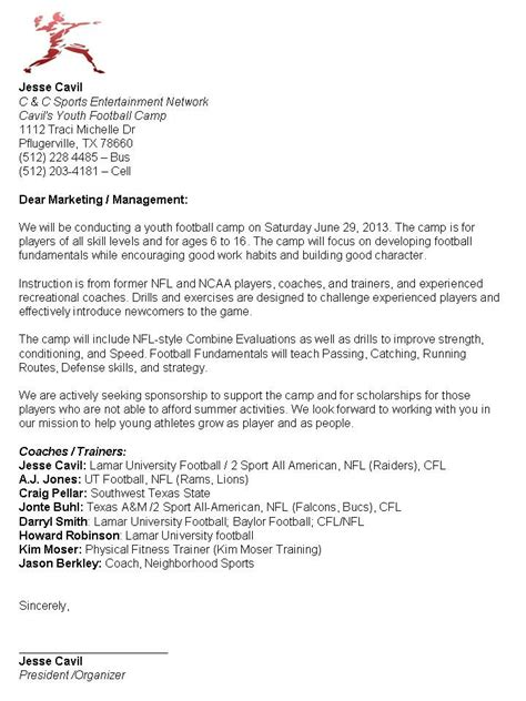 Donation Letter For Youth Football Sponsor Letter C Cavil Youth Football Events
