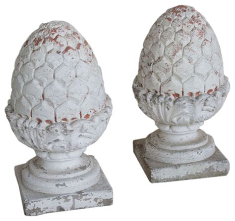 Outdoor Pineapple Decor by Pair Of Vintage Composite Pineapple Finials Outdoor