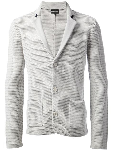 Knitted Blazer by Lyst Emporio Armani Knitted Blazer In Gray For