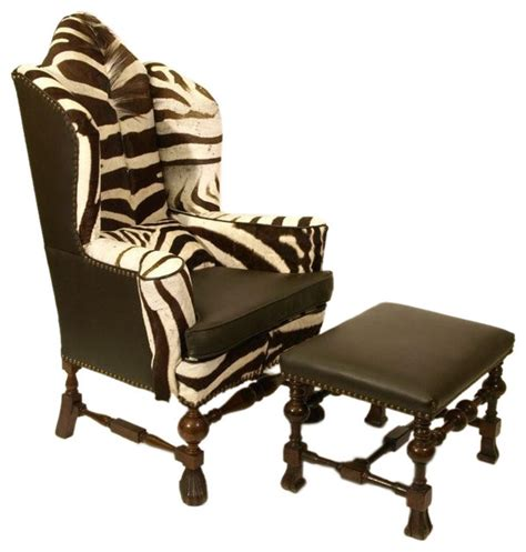 Zebra hide william and mary wing chair and ottoman eclectic armchairs and accent chairs by