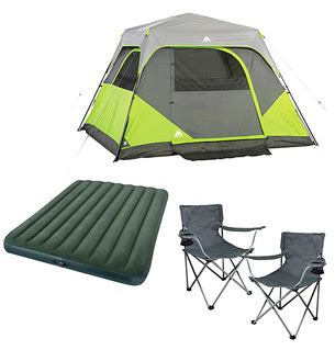 ozark trail camping bundle tent air mattress  chairs