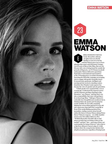 new film with emma watson 2015 emma watson in total film magazine may 2015 issue