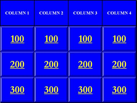Jeopardy Templates Powerpoint – Blank Jeopardy Powerpoint Game Template   Search Results