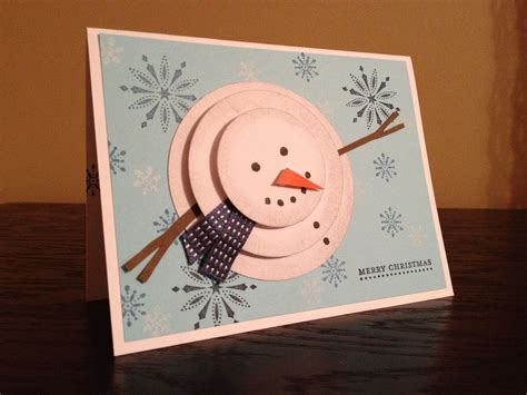 Merry Cards Handmade - quot merry quot handmade card with 3d snowman