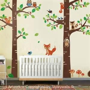 Vinyl Tree Wall Decals For Nursery Tree Tops Woodland Critters Nursery Playroom Vinyl Wall Decal Styleywalls Children S On Artfire