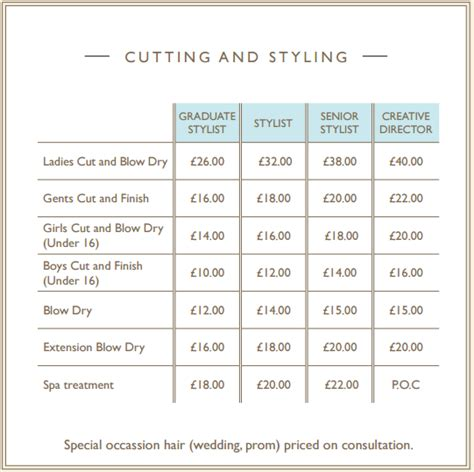 list of hairstyle prices hair salon price list