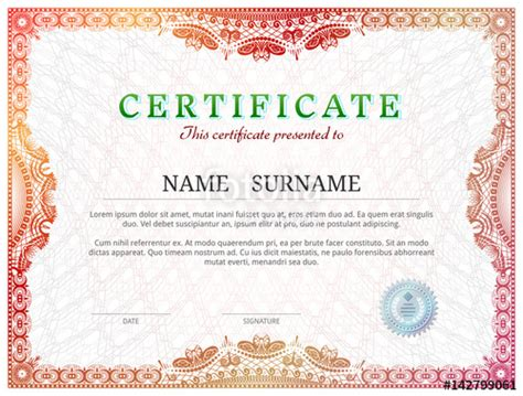 quot certificate template with guilloche elements red diploma