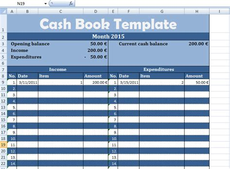 get cash book template exceltemple