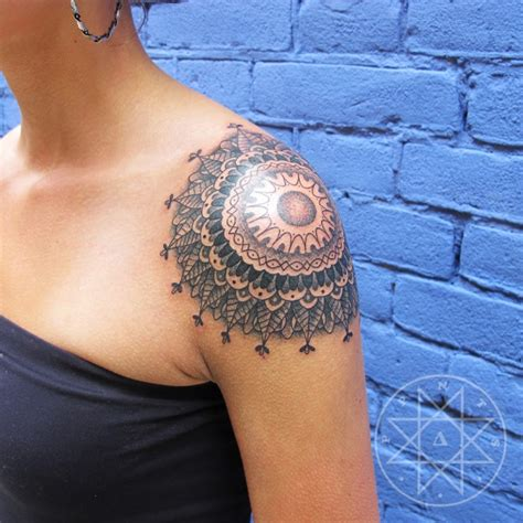 tattoo on shoulder girl mandala on left shoulder