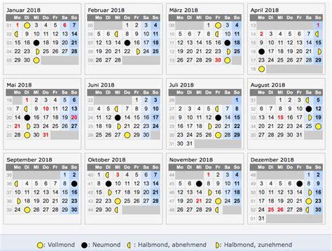 Vollmond Kalender 2018 Mondkalender 2018 Die Schwangerschaft