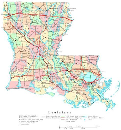road map of louisiana louisiana printable map
