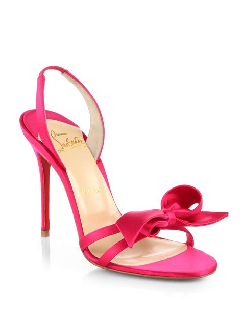 Sandal Bow Pink by Lyst Christian Louboutin Grusanda Satin Bow Sandals In Pink