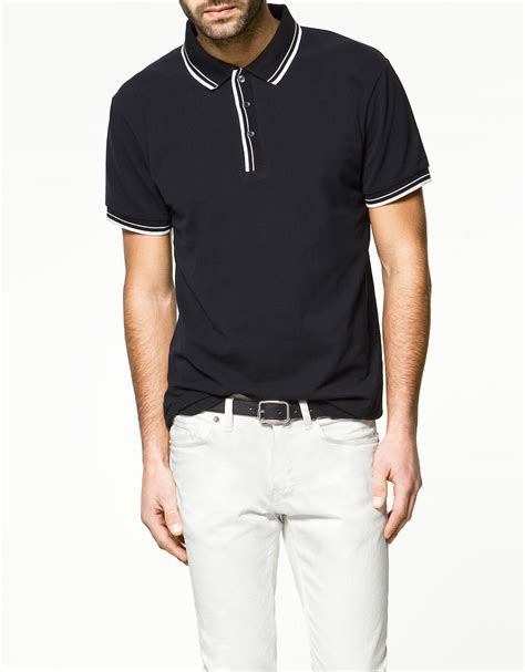 Zara Polos zara tipping polo shirt in blue for navy lyst