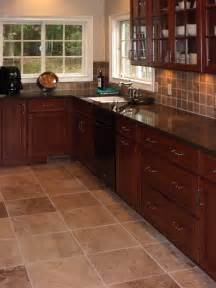 cherry kitchen cabinets kitchens with grey floors kitchen tile floors with cherry cabinets