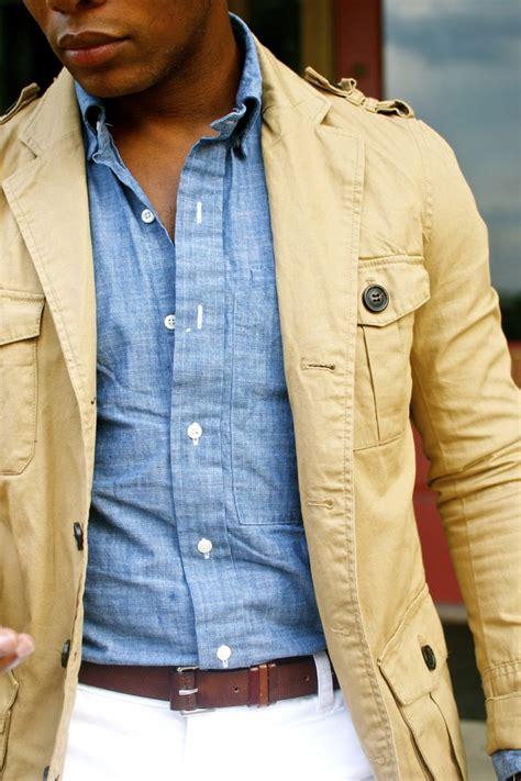 mens light chambray shirt blue chambray shirt and butter coloured linen safari