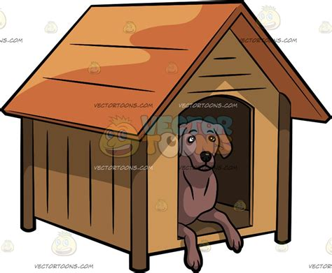 dog in a dog house an alerted dog in a dog house cartoon clipart vector toons
