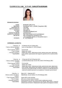 Curriculum Vitae Italiano by Curriculum Vitae In Italiano