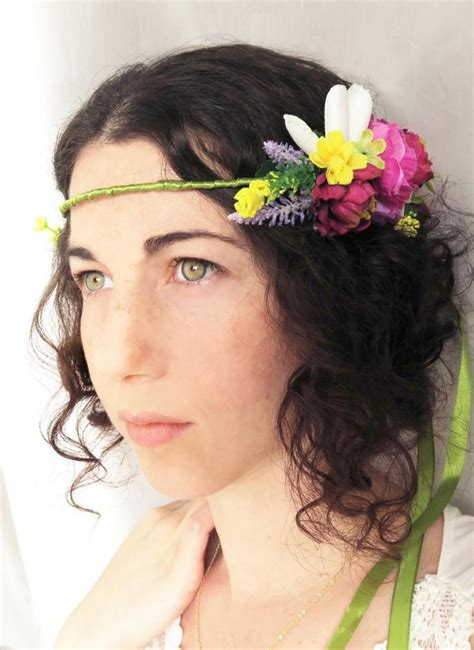 vintage bohemian wedding hair accessories bridal hair wreath with fabric flowers vintage bohemian