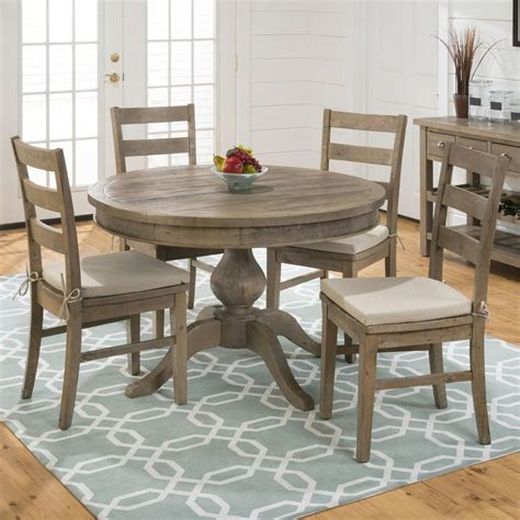 Slater Mill Pine Reclaimed Pine Round To Oval 5 Piece 5 Dining Table Set