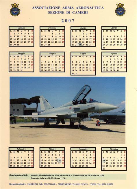 Calendario Ano 2007 Associazione Arma Aeronautica Cameri 187 Calendario Anno 2007