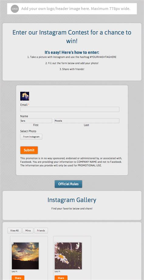 Templates Can Give Your Facebook Presence New Life Here Are 100 To Choose From Shortstack Giveaway Instagram Template