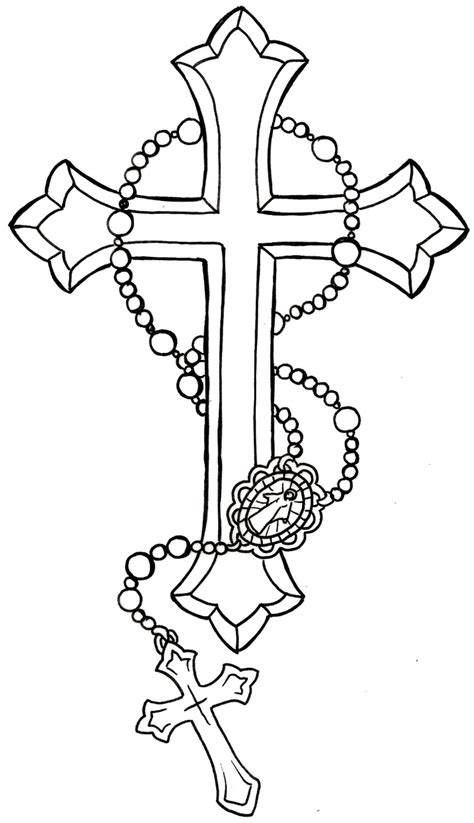 cross tattoo stencil collection of 25 rosary cross designs