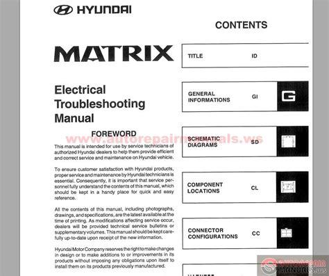 automotive repair manual 2001 hyundai sonata security system hyundai matrix 2001 electrical troubleshooting manual auto repair manual forum heavy
