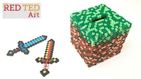 perler bead paper replacement minecraft diy craft perler bead moneybox with captions