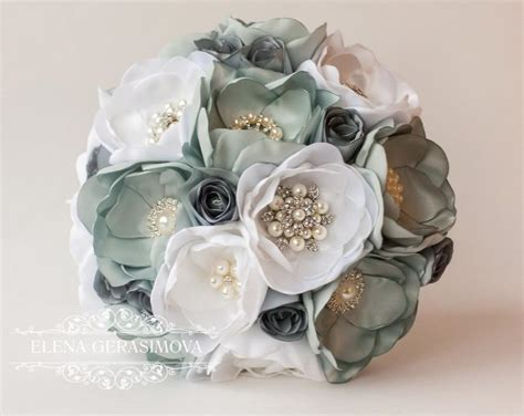 Bouquets For Sale by Sale Brooch Bouquet Gray Silver Fabric Wedding Bouquet