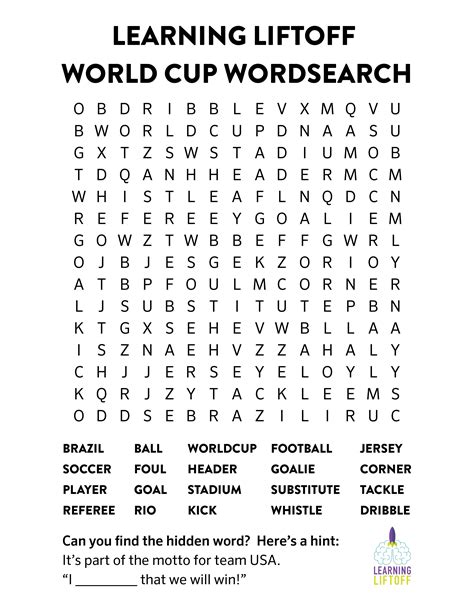 Free Worldwide Search Printable World Cup Word Search Learning Liftoff