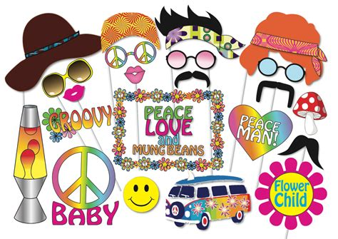 60s theme decorations hippie photo booth props set 24 printable 60s