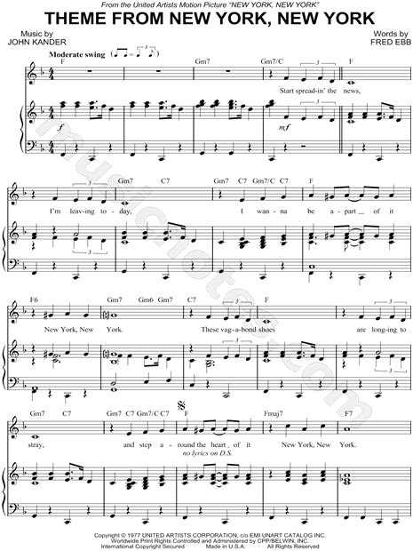song nyc frank sinatra quot theme from new york new york quot sheet music