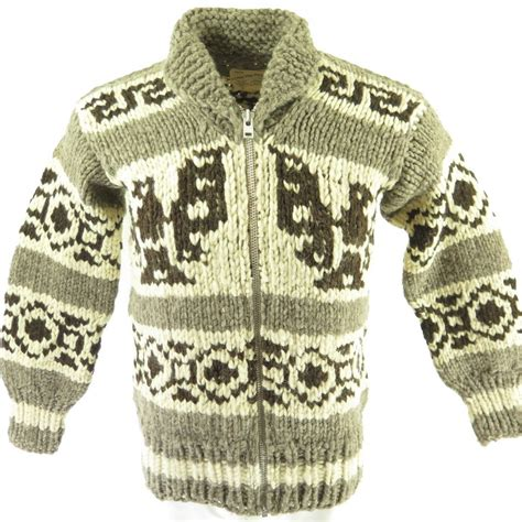 Indian Sweater vintage 60s cowichan indian sweater mens m bird motif wool