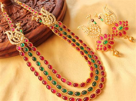 Gelang Multilayer Gold 155 buy mesmerising multilayer pink green peacock necklace set