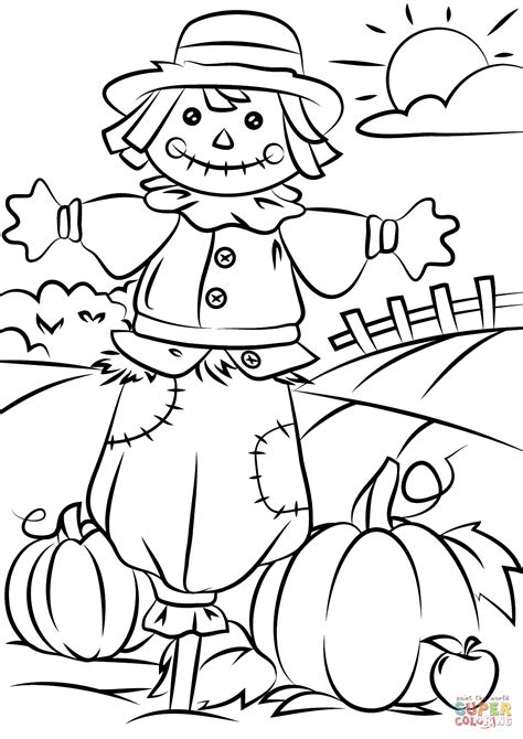 fall coloring pages images autumn scene with scarecrow coloring page free printable