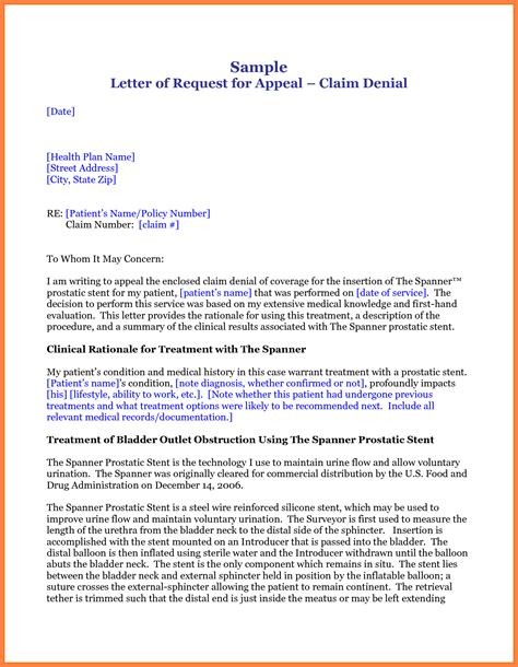 No Authorization Appeal Letter Template Sle Letter Request Appeal For Medication With Claim Feat Contact Template And Four