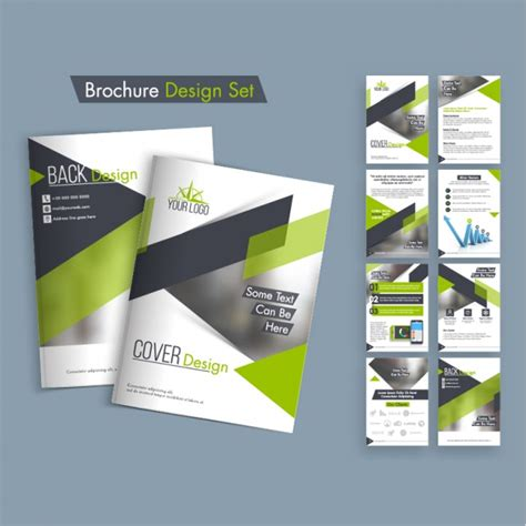 brochure designs hd leaflet design pack with green shapes vector premium