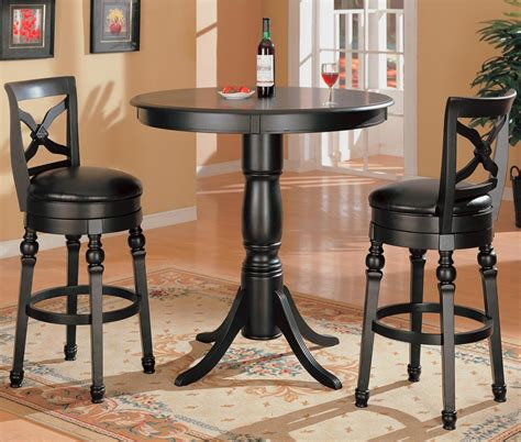 kitchen home bar products black finish kitchen bar pub table set wood stools new
