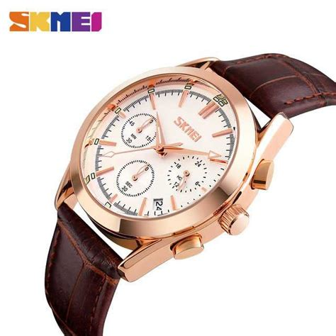 Skmei Casual Leather 9086cl Hitam jual jam tangan pria skmei analog casual leather original 9127