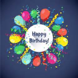 Happy Birthday Happy Birthday Card With Balloons And Confetti Vector