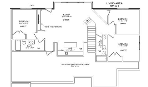 basement floor plans with bar single story house plans and this one story open floor