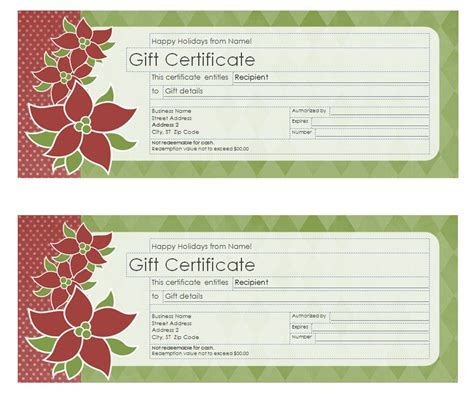 search results for holiday gift certificate template free