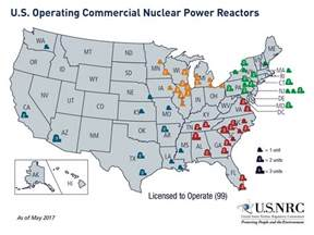 nuclear plants in map nrc map of power reactor